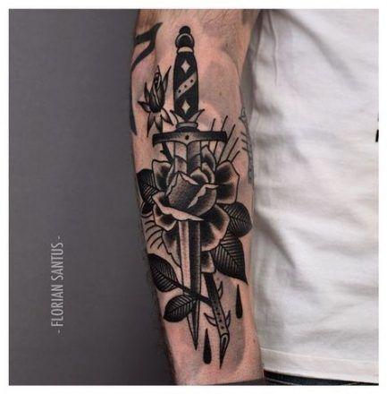 Tattoo Old School Rose Schwarz American Traditional 38 Ideen, #amerikanisch #Schwarz #Ideen #altsch …   – Travel