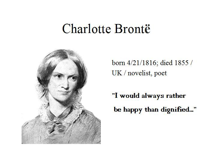"April the 21st...Charlote Bronte wrote ""Jane Eyre"", one of the most known classic novels of the English literature...the combination of naturalism and gothic melodrama was innovative and broke new grounds in being written from a first-person female perspective..."