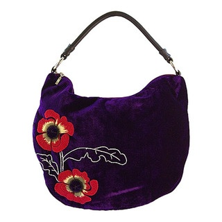 Poppy Shoulder Bag with hand embroidered and beaded poppy flower detail