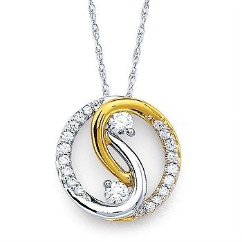 K8074/.40 Two tone bridal interlocking diamond pendant
