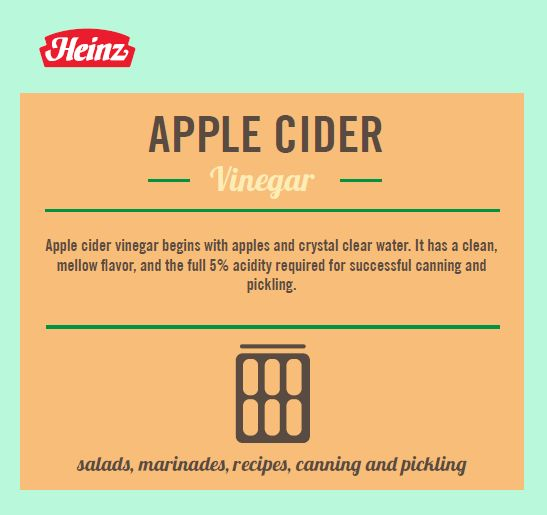 Heinz® Apple Cider Vinegar is ideal for your favorite salads, marinades and recipes and has the full 5% acidity required for successful canning and pickling.