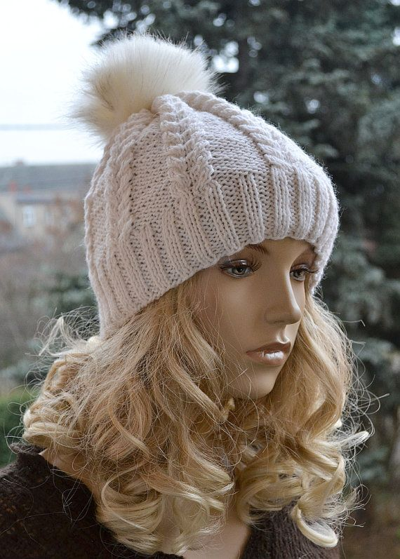 Creme Knitted Slouchy Beanie Hat Knitted cap in fur by DosiakStyle
