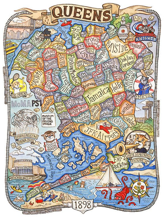 Queens New York Neighborhood Map! This is a print from an original watercolor and ink illustration. The image measures 9 1/8 x 7 printed on 8 x 10