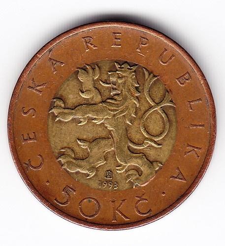 1993 Czech Republic Bimetallic 50 Crowns Coin B23 | eBay