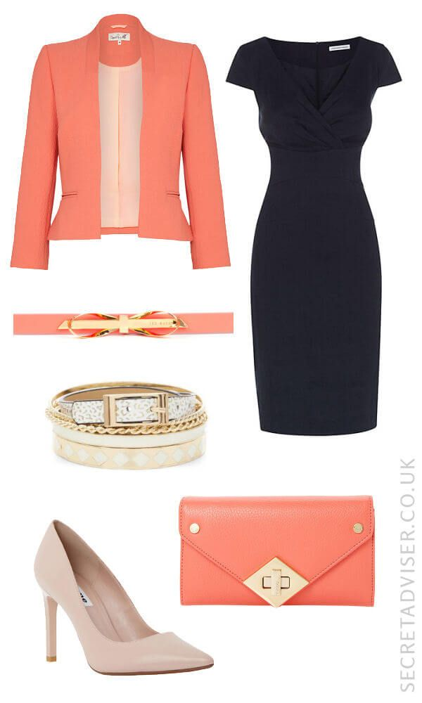 Navy dress with coral accessories outfit idea