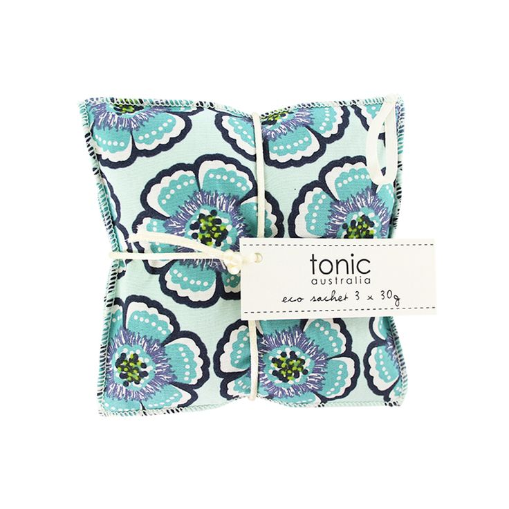 Flora Sea Green Eco Sachet - Filled with lavender