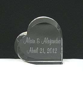 Engraved Heart Wedding Cake Toppers