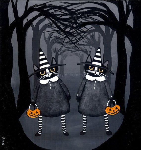 The Twins Halloween Witch Cat Original Folk Art by KilkennycatArt
