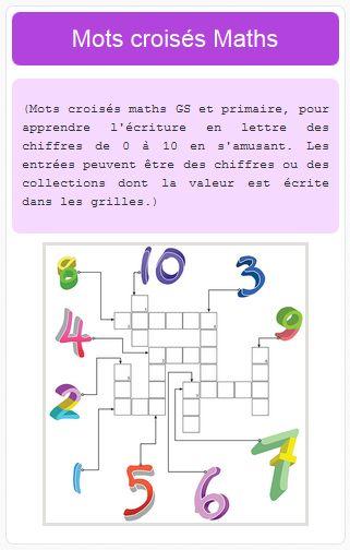 mots crois u00e9s maths gs et primaire  pour apprendre l