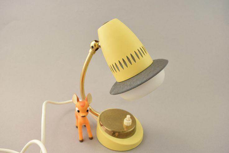 Vintage Nachttischlampe  Tischlampe kleine Leuchte gelb aus den 60er Jahren, mid…