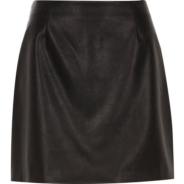 River Island Black faux leather mini skirt (€50) ❤ liked on Polyvore featuring skirts, mini skirts, black, women, short skirts, vegan leather skirt, tall skirts, a line mini skirt and faux leather mini skirt