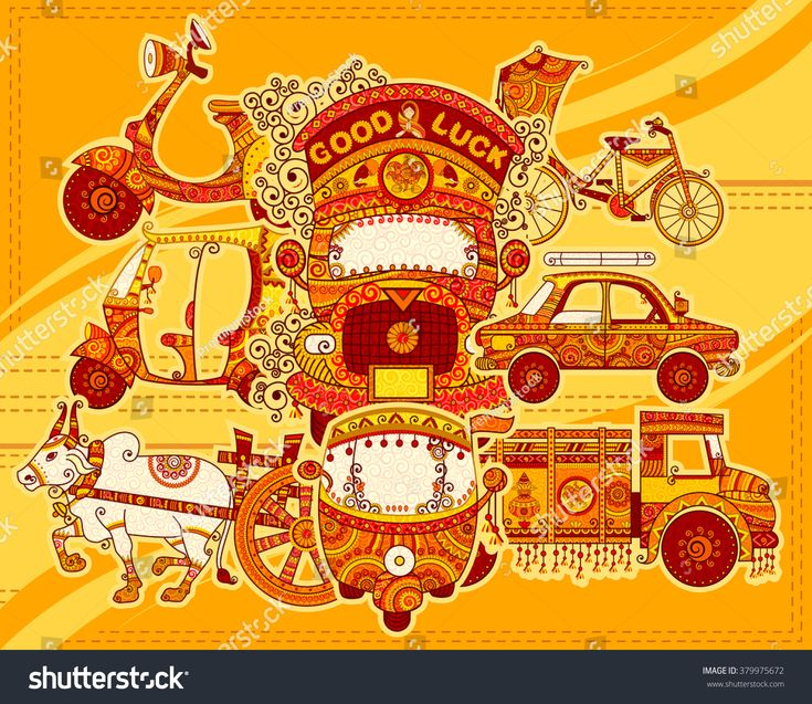 Vector design of transportation of India in Indian art