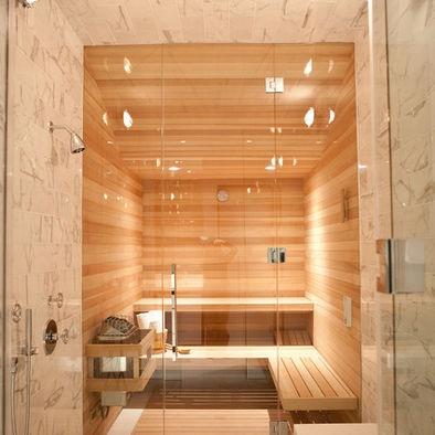Sauna behind the shower