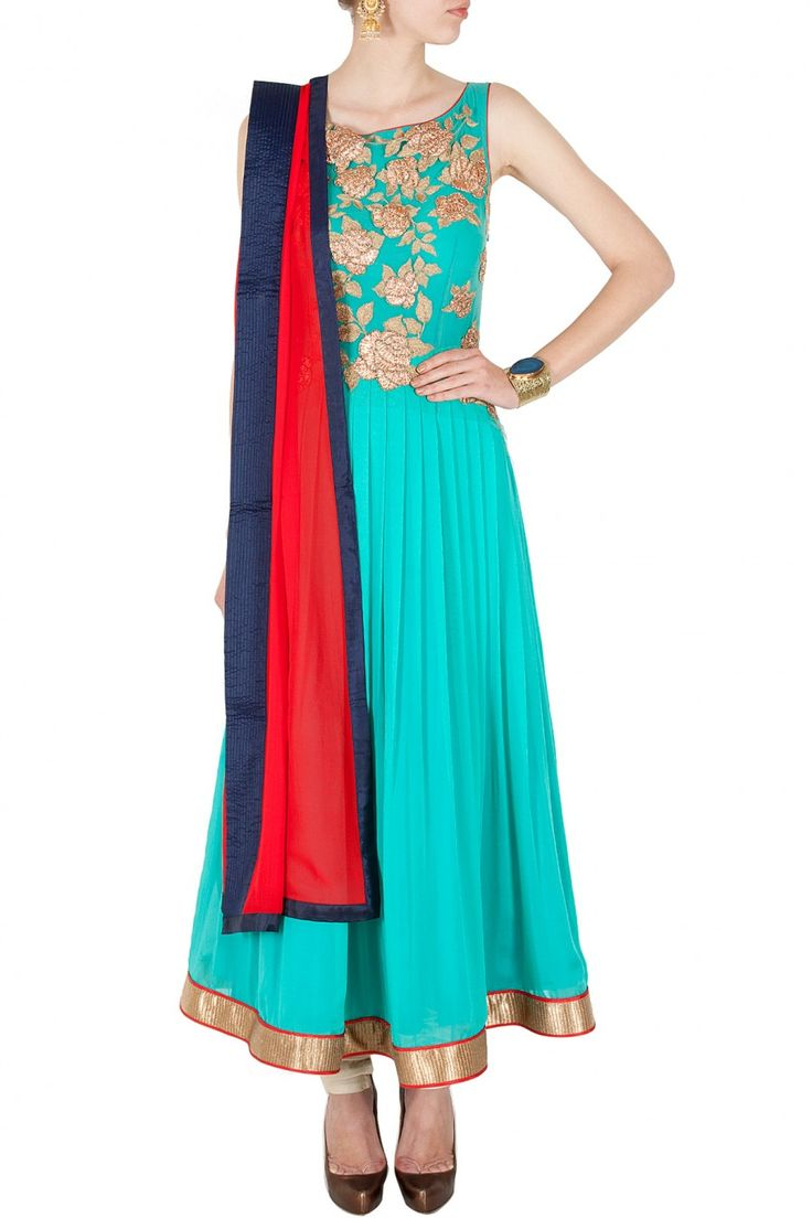 Sky blue embroidered anarkali with contrast dupatta BY JADE. shop now at perniaspopupshop.com #perniaspopupshop #clothes #womensfashion #love #indiandesigner #jade #happyshopping #sexy #chic #fabulous #PerniasPopUpShop #ethnic #indian