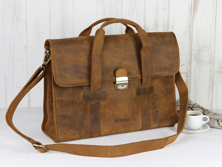 The Carter Leather Briefcase, a great gift men this year as it's truly a unique leather briefcase travel bag that will last for years to come. #giftsformen