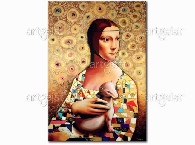 """Nowoczesna odsłona arcydzieła Leonarda da Vinci """"Dama z łasiczką"""" #obrazy #recznie #malowane #tryptyki #dekoracje #ścienne #sztuka #malarstwo #wnętrza #leonardo #da #vinci #dama-z-łasiczką #dama #z #łasiczką"""