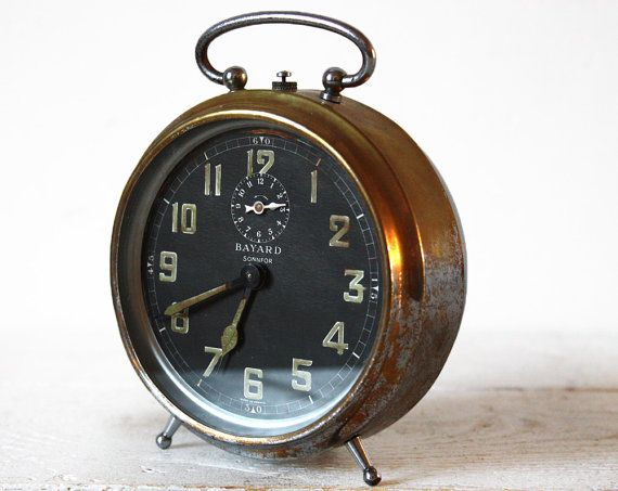 Antique French  BAYARD Alarm clock  SONNFOR 1930 by RueDesLouves, $83.00