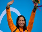 Ranomi Kromowidjojo is able to color coordinate her gold medal to the orange uniform of team Netherlands after settings a new olympic record.