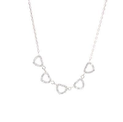 925 Ayar Gümüş 5'li Kalp Kolye, Beyaz