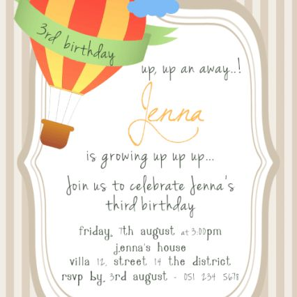 up and away hot air balloon birthday invitation all ages