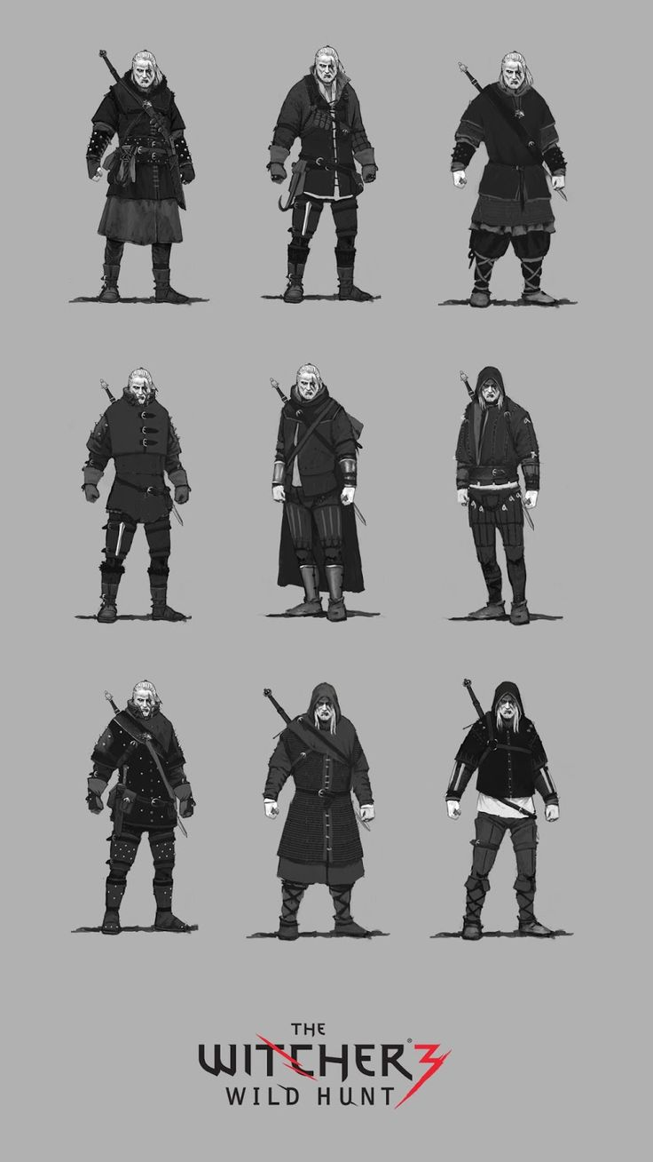 Geralt of Rivia armor concepts for The Witcher 3