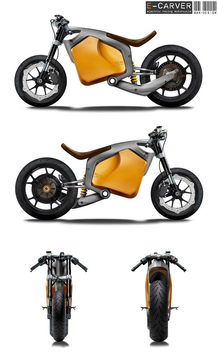 Very cool stuff! E-Carver Electric Racebike Concept, electric vehicle, electric vehicle technology, electric vehicle motors, electric bicycle. Would you use an electric bike? Or does it take away from the HOG experience?