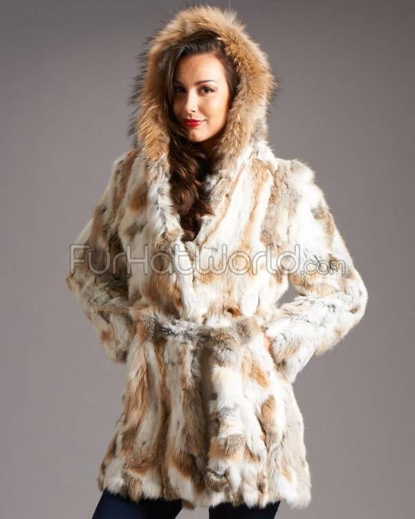 Natural Rabbit Fur Car Coat with Hood http://www.furhatworld.com ...