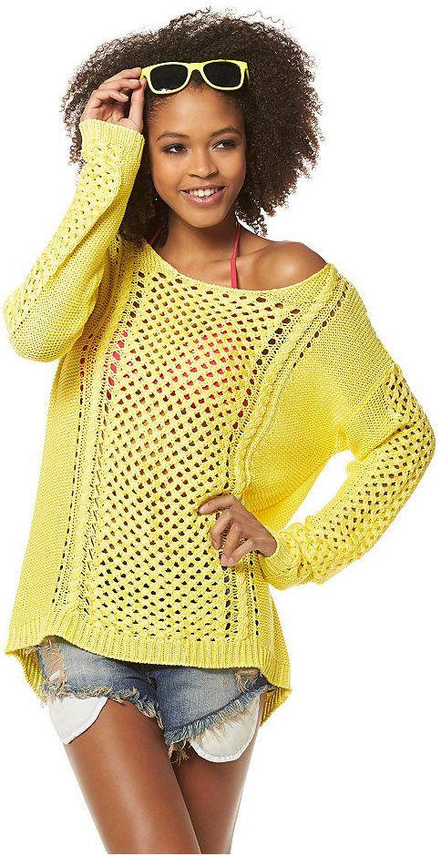 пуловер ажурной вязки идея