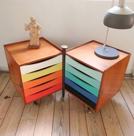These are stunning pieces from a designer's home in Denmark. How great would Ikea drawers look painted like this.