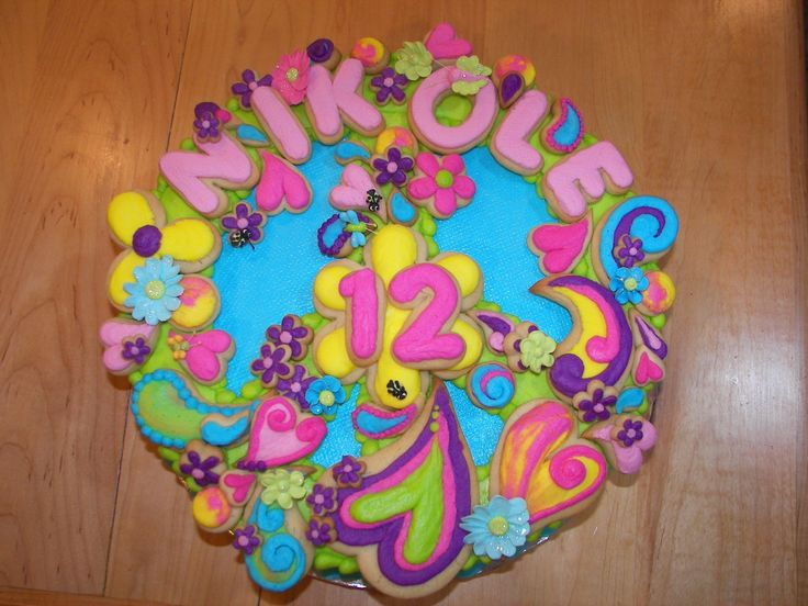 peace sign birthday cakes for girls   Girly Peace Sign Cake