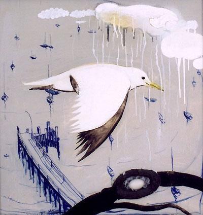 """""""Seagull Over Lavender Bay"""" in 1979 by Brett Whitely. Oil and mixed media on board. repinned via carmen burnett"""