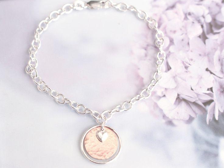 Silberarmbänder - Herz Ring Armband Silber roségoldfilled gehämmert - ein Designerstück von taufrische bei DaWanda