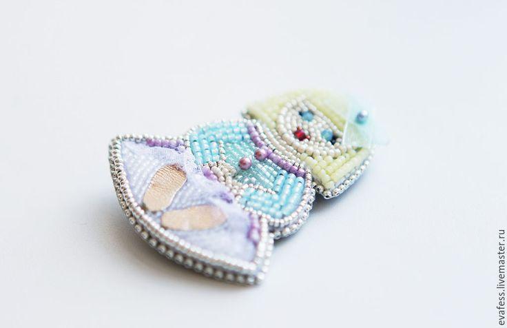 """Купить Брошь """"Куколка Мари"""" - бирюзовый, голубой, розовый, пастельные тона, пастельные цвета"""