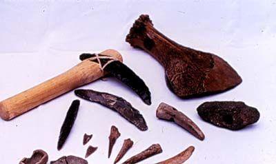 15. Werktuigen uit de Bronstijd van vuursteen en been gemaakt