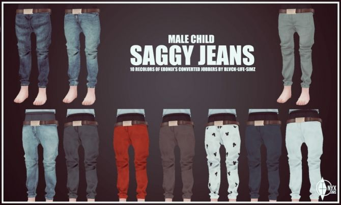 Child Male Saggy Jeans Recolors at Onyx Sims via Sims 4 Updates Check more at http://sims4updates.net/clothing/child-male-saggy-jeans-recolors-at-onyx-sims/