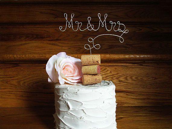 Mr & Mrs - Vineyard Wedding Cake Topper - for the Wine Lovers - Vineyard Wedding, Wine Wedding, Rustic Wedding, Country Wedding