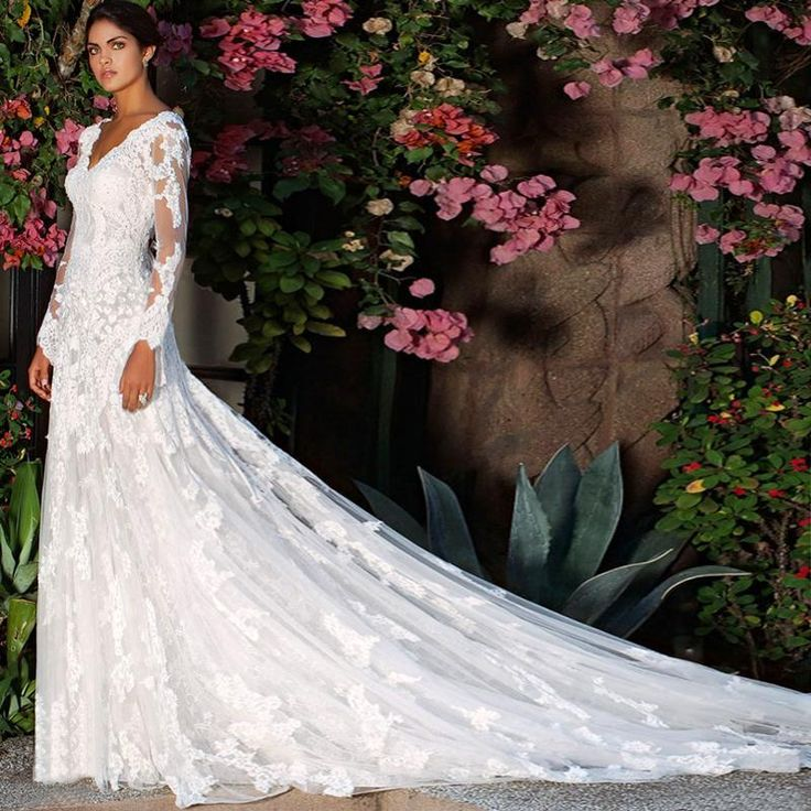 2015 New Newest V Neck Illusion Long Sleeves A Line Covered Button Elie Saab Lace Wedding Dresses Bridal Gowns With Court Train Prices Of Wedding Dresses Simple A Line Wedding Dress From Useless, $115.21| Dhgate.Com