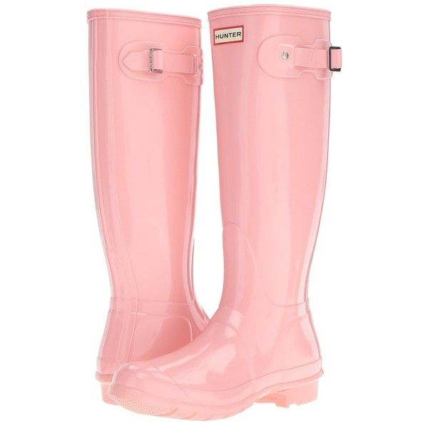 Hunter Original Tall Gloss (Pink Sand) Women's Shoes ($150) ❤ liked on Polyvore featuring shoes, boots, knee-high boots, wellies boots, knee high boots, hunter boots, buckle boots and knee high rain boots