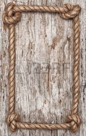 Rope frame and old wood background photo