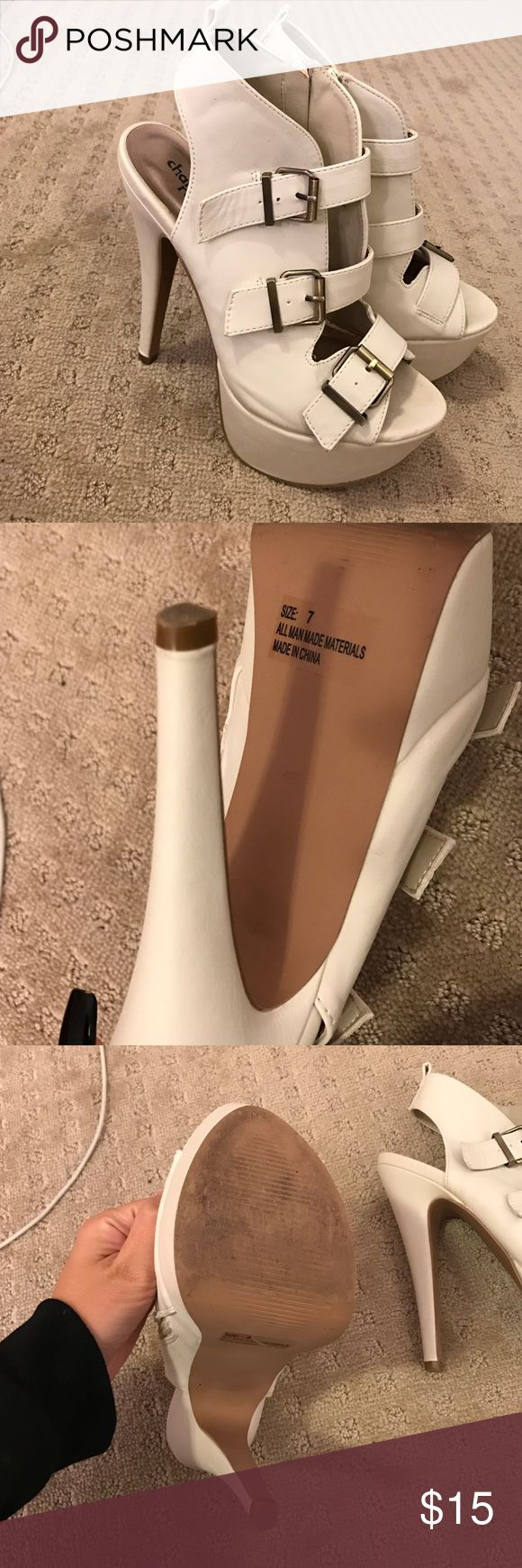 White/Cream high heels! Size 7. Only worn once! From Charlotte Russe. Has zippers on the side. Charlotte Russe Shoes Heels