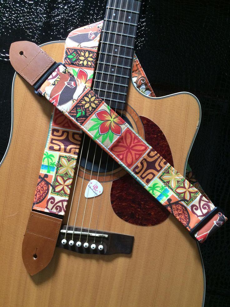 Hawaiian print guitar strap // colorful instrument strap