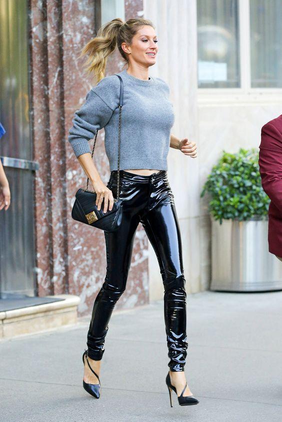 Black vinyl jeans - street style fashions worn by Gisele ...