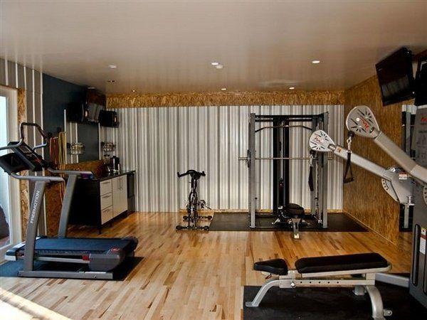 Garage Gym Ideas Equipment Wood Flooring Recessed Lighting