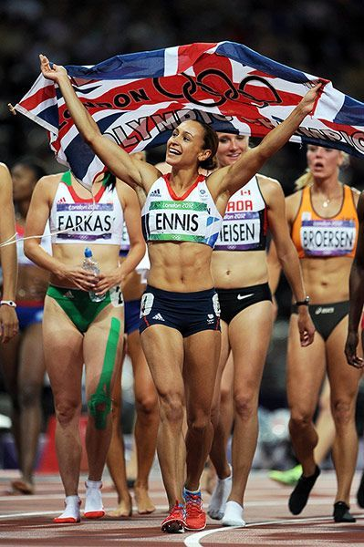 Jessica Ennis celebrates after winning gold in the heptathlon on Day 8 of the London 2012 Olympics. #running