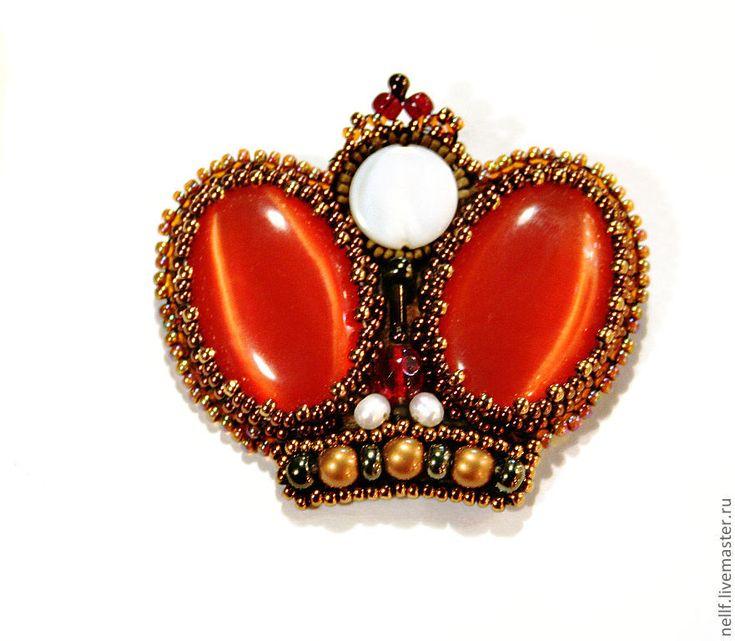 """Купить брошь """"Ваше Величество!"""" - рыжий, золото, Вышивка бисером, брошь, брошь-корона"""