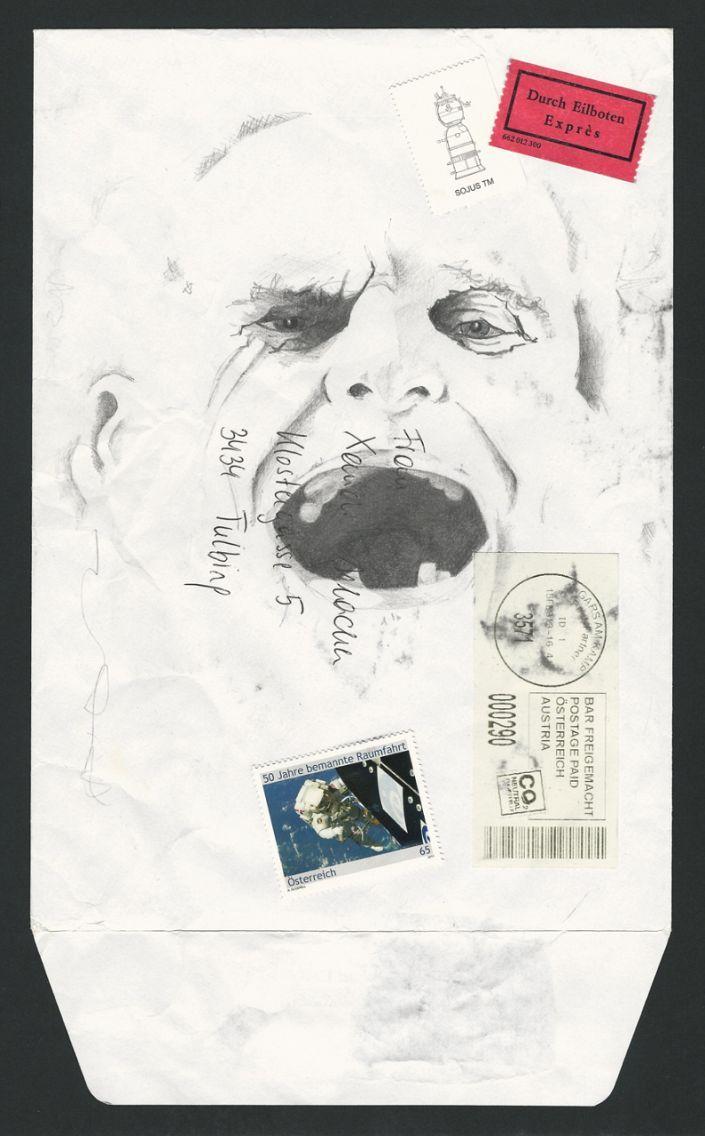Alexandra Irlacher: Opa.  Zeichnung und Collage auf Briefkuvert #Großvater #Opa #Portrait #Briefkuvert #Familie #Collage #Zeichnung #Post #Austria #Kuvert #Briefumschlag #alexandrairlacher #startyourart www.startyourart.de