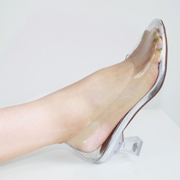 c6fec7052bd New Sexy Movie Princess Cinderella Clear Glass Slippers high-heeled shoes  in Clothing