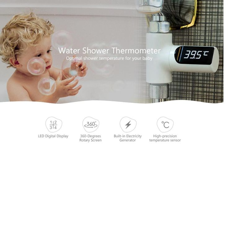 LED Digital Shower Thermometer Battery Free Real Time Water Temperature Meter Monitor for Baby Care - Silver - Tmart