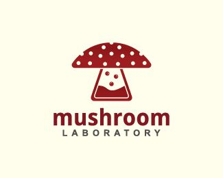 Mushroom is a logo in the shape of a mushroom together with a laboratory flask with bubbles with the color red. ( logo for sale, medicine, lab, mushroom, bottle, laboratory, medical, science, bubbles, scientific, clinic, logo design, exclusive logo).
