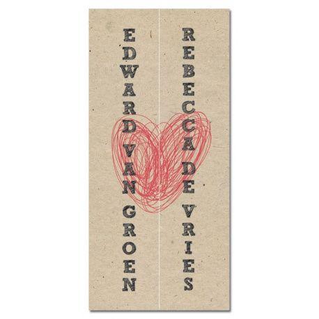 Trouwkaart: Modern/Vintage Hart (Drieluik) - Wedding Designs